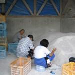 石灰充填作業